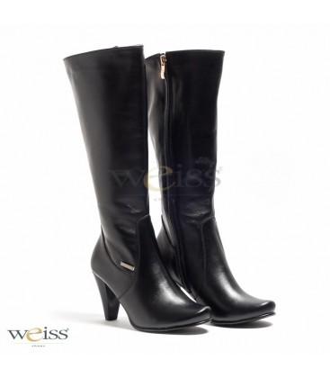 Černé kozačky hladké - WK-435-BL
